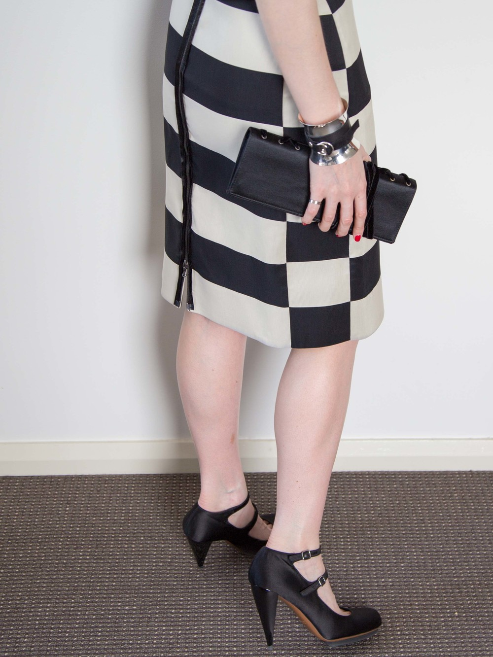 Lanvin Striped Dress, Georg Jensen Cuff, Yves Saint Laurent Vintage Clutch, Lanvin Silk Satin Heels, Cartier Love Ring