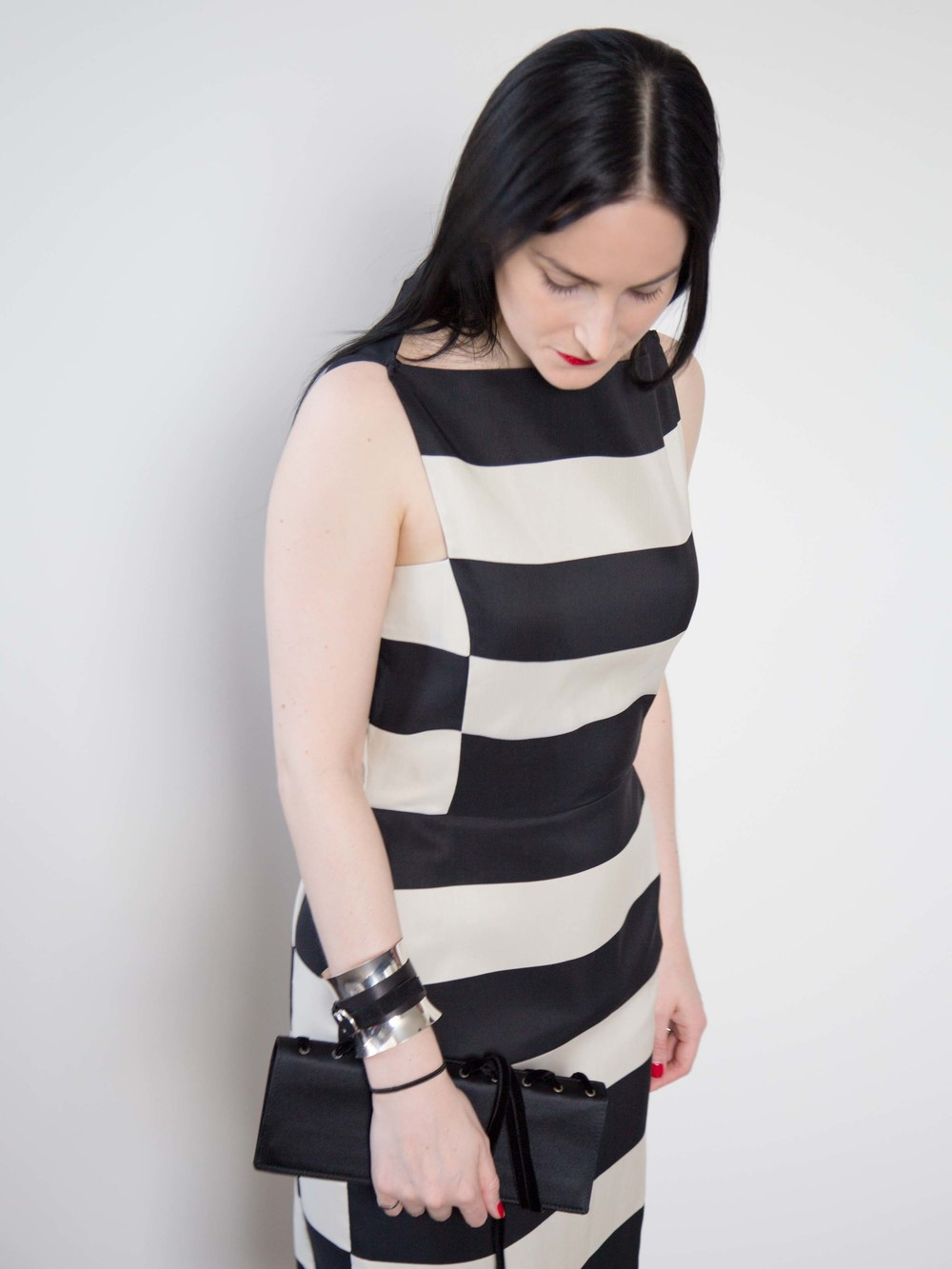 Lanvin Striped Dress, Georg Jensen Cuff, Yves Saint Laurent Vintage Clutch, Cartier Love Ring