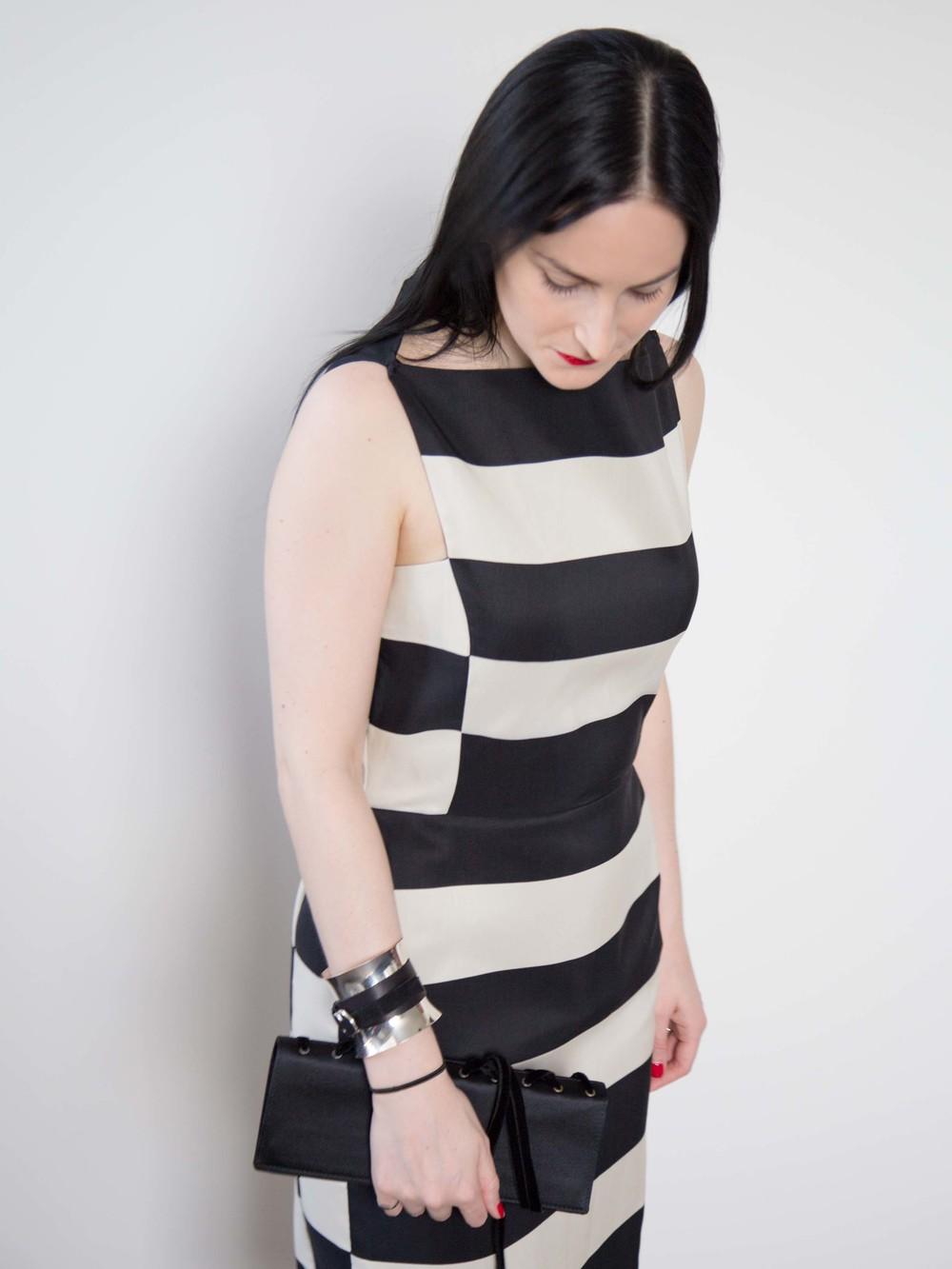 Lanvin Striped Dress, Georg Jensen Cuff, Yves Saint Laurent Vintage Clutch, Cartier Love Ring