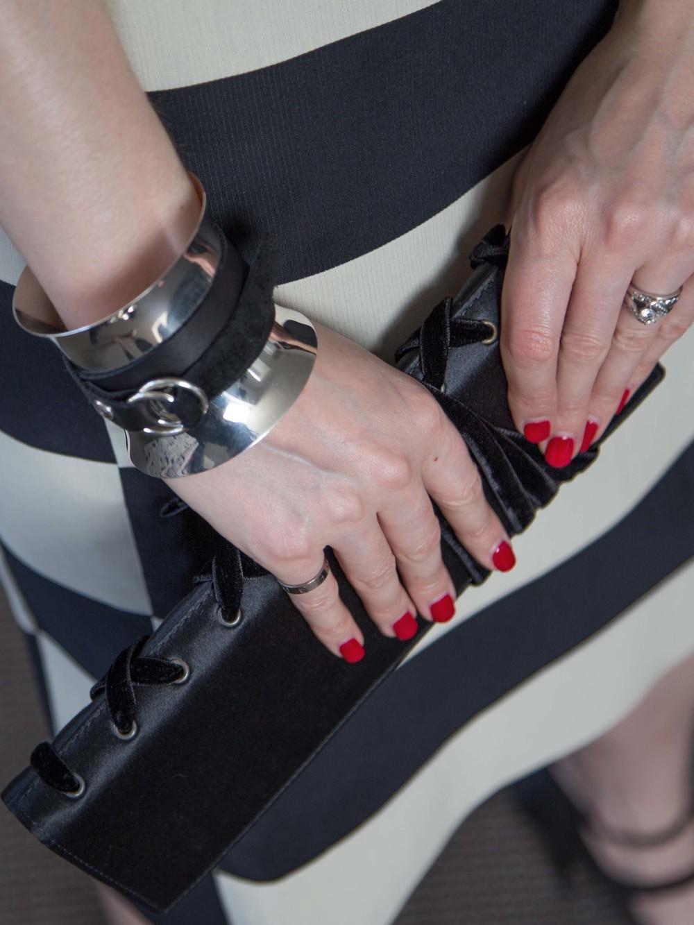 Lanvin Striped Dress, Georg Jensen Cuff, Yves Saint Laurent Vintage Clutch, Lanvin Silk Satin Heels, Cartier Love Ring, Engagement & Wedding Rings