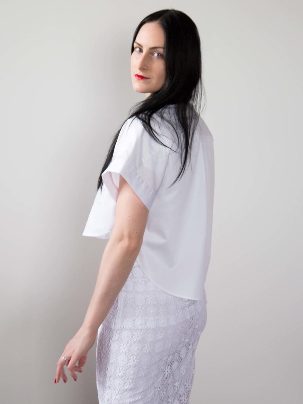 LOVER® White Crop Shirt, Burberry Prorsum English Lace V-Neck Dress