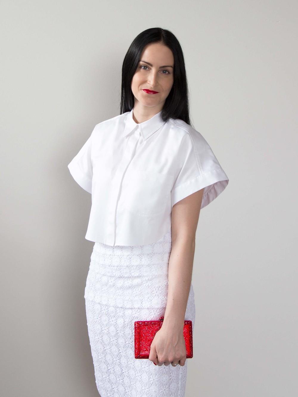 LOVER® White Crop Shirt, Burberry Prorsum English Lace V-Neck Dress, Swarovski Clutch