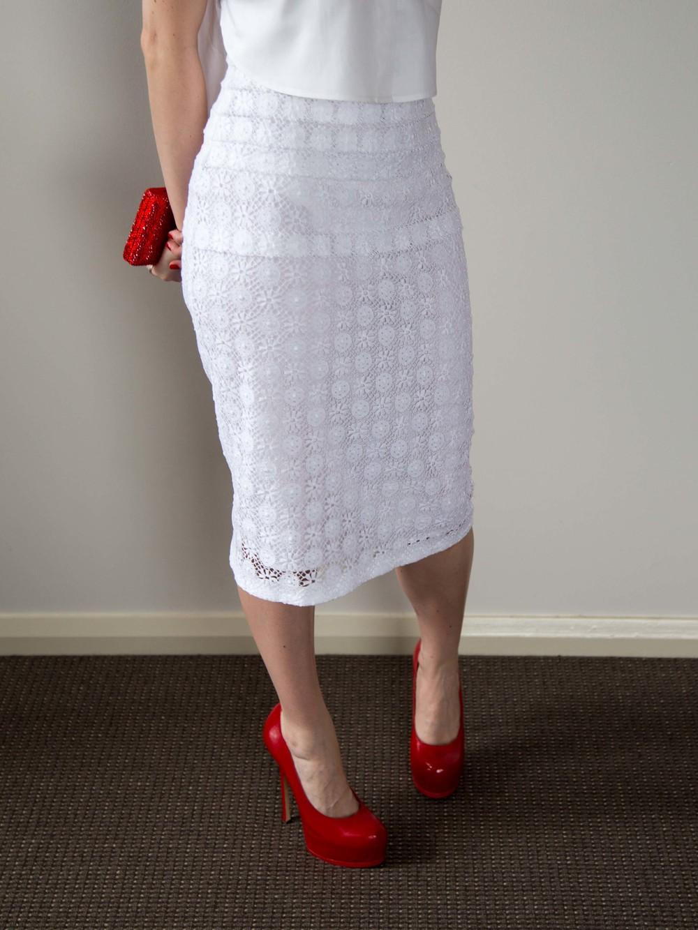 LOVER® White Crop Shirt, Burberry Prorsum English Lace V-Neck Dress, Yves Saint Laurent Heels, Swarovski Clutch