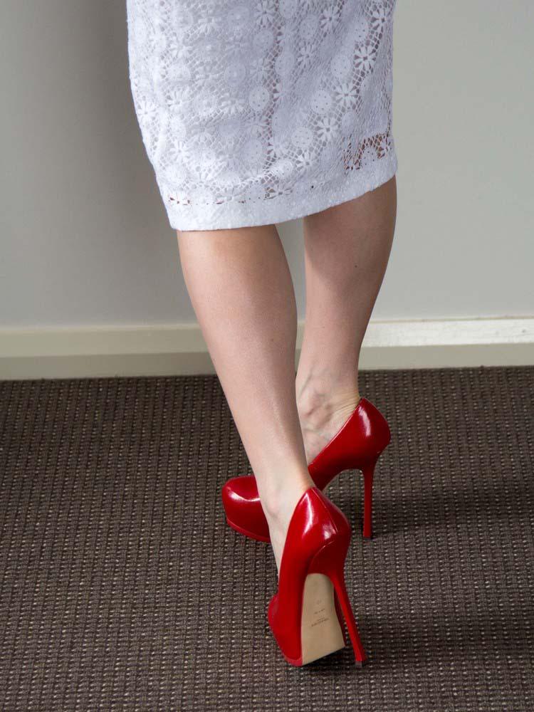 Burberry Prorsum English Lace V-Neck Dress, Yves Saint Laurent Heels