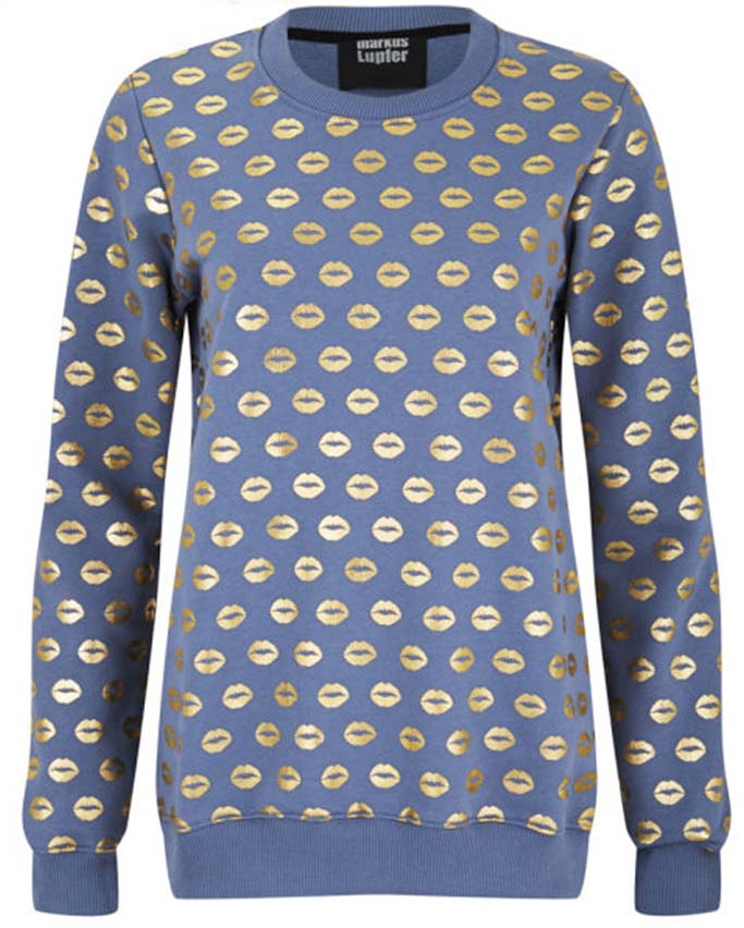 Markus Lupfer Foil Lip Print Sweater, COGGLES, Approx $302.50AUD