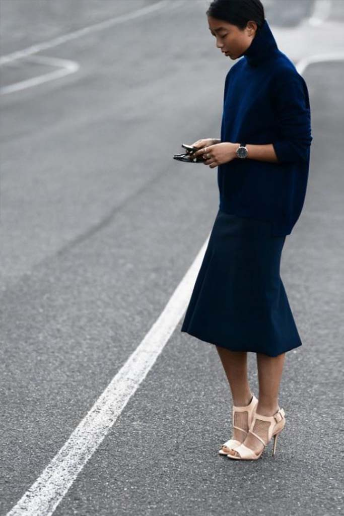 All Blue with a Statement Shoe, Street Style Look