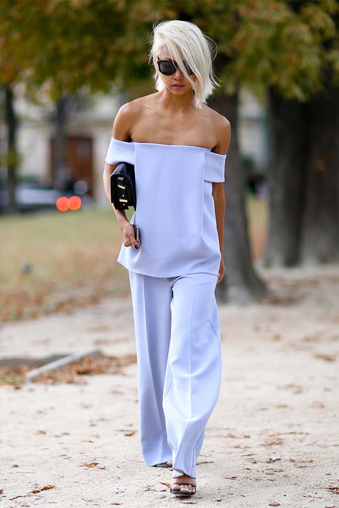 Pastel Blue Street Style Look in Paris