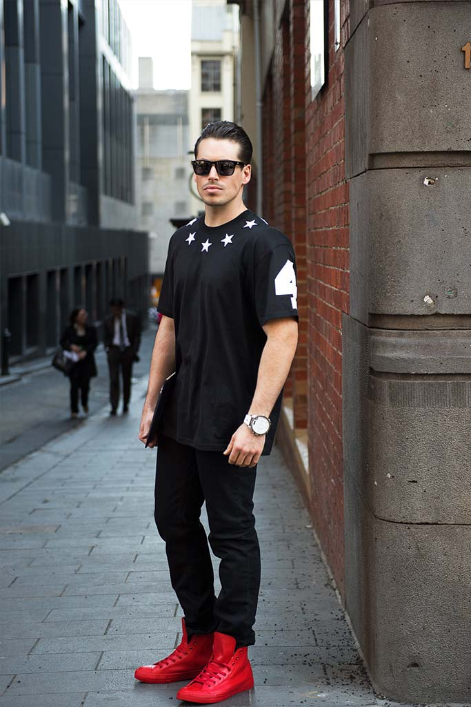 A Menswear look in Melbourne - With a Statement Red Sneaker