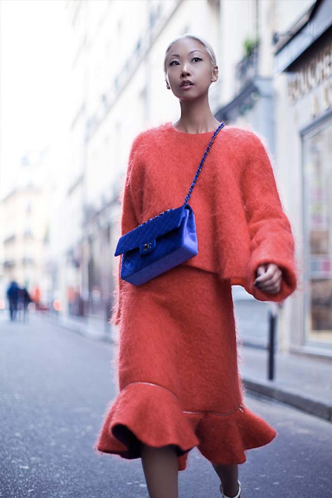 A Red Street Style Look with a Statement Bag