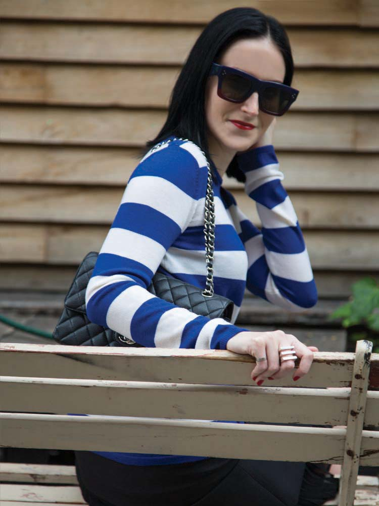 Celine Sunglasses, Scanlan Theodore Wool Jumper and Black Skirt, Chanel Bag, Georg Jensen Ring, Cartier Ring