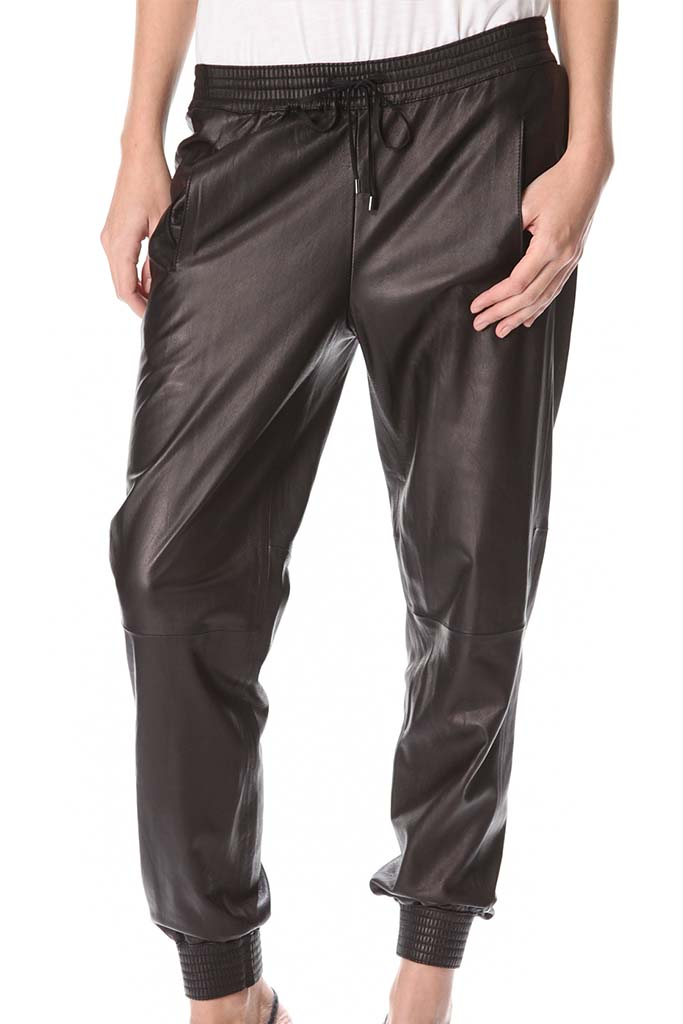 Vince Leather Slouch Jogging Pants, eBay