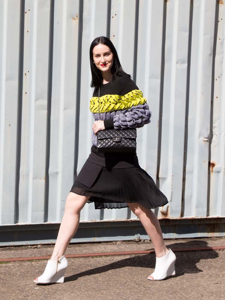 Alexander Wang Jumper, Scanlan Theodore Skirt, Burberry Shoes, Chanel Bag