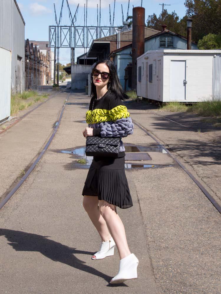 Alexander Wang Jumper, Scanlan Theodore Skirt, Burberry Shoes, Chanel Bag, Karen Walker Sunglasses