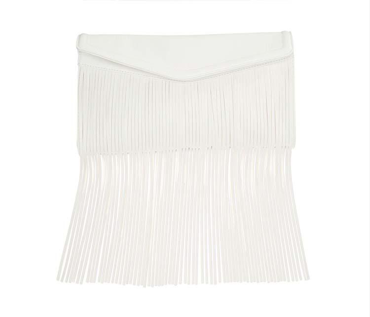 White Leather Fringe Clutch, Macy's, $94.60AUD