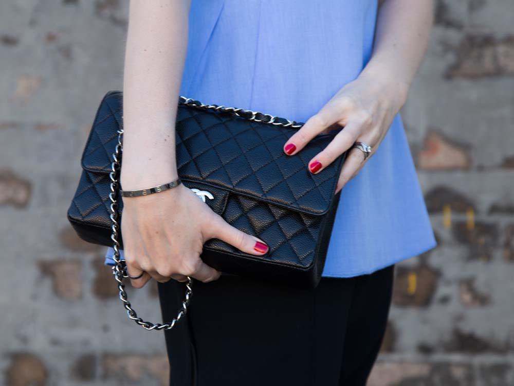 ELLERY Australia Blue Cotton Shirt, Chanel Bag, Céline Pants