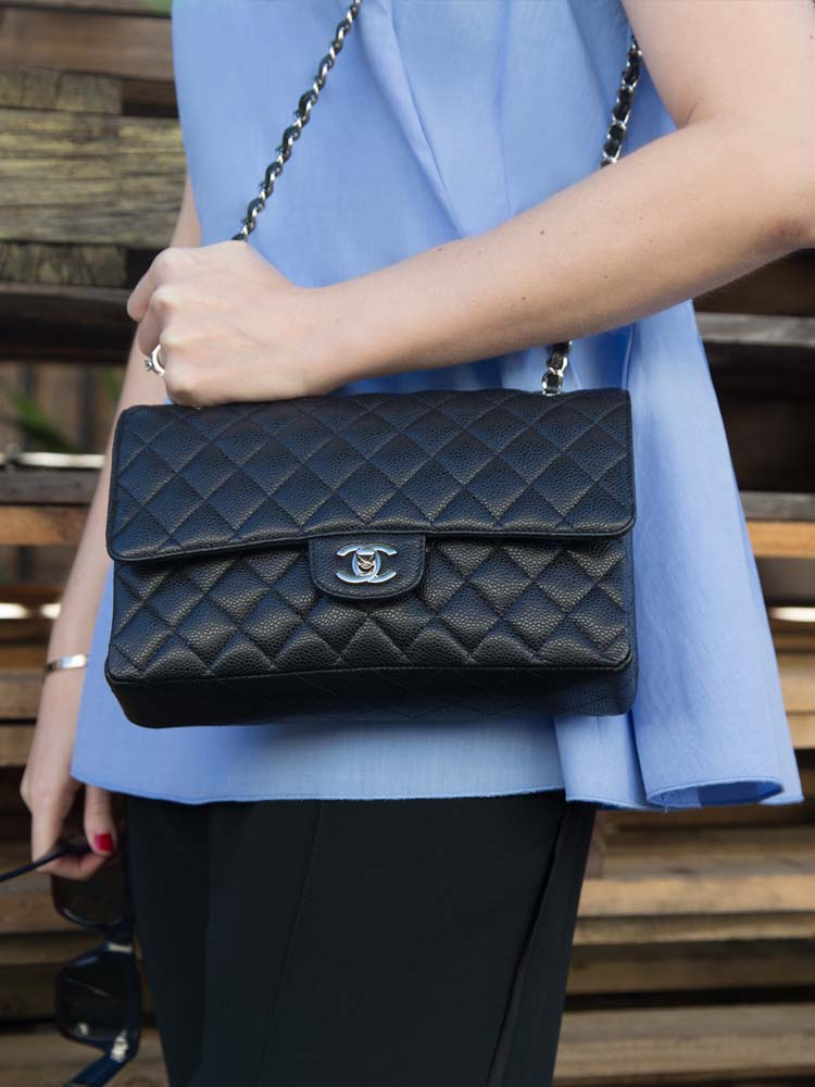 ELLERY Australia Blue Cotton Shirt, Chanel Bag, Céline Pants & Sunglasses