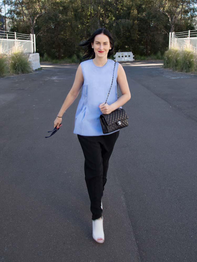 ELLERY Australia Blue Cotton Shirt, Chanel Bag, Céline Pants & Sunglasses, Burberry Shoes