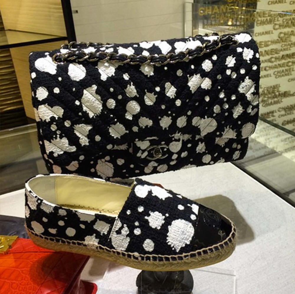 Chanel Spring Summer 2015 Monochrome Splatter Bag & Espadrilles In Boutiques Now