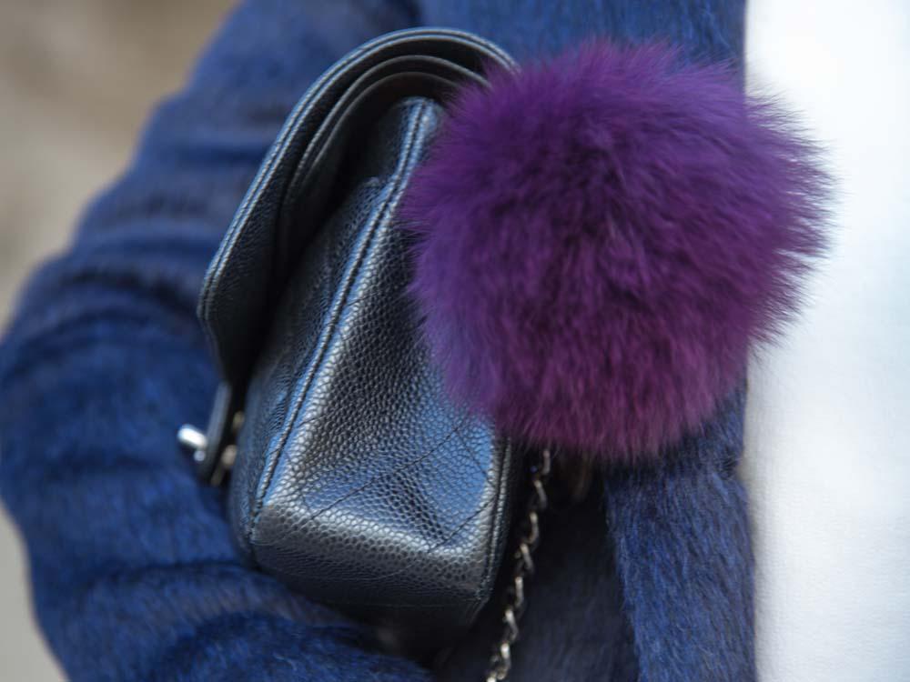 DETAILS:Burberry Classic Blue Coat, Fur Bag Charm