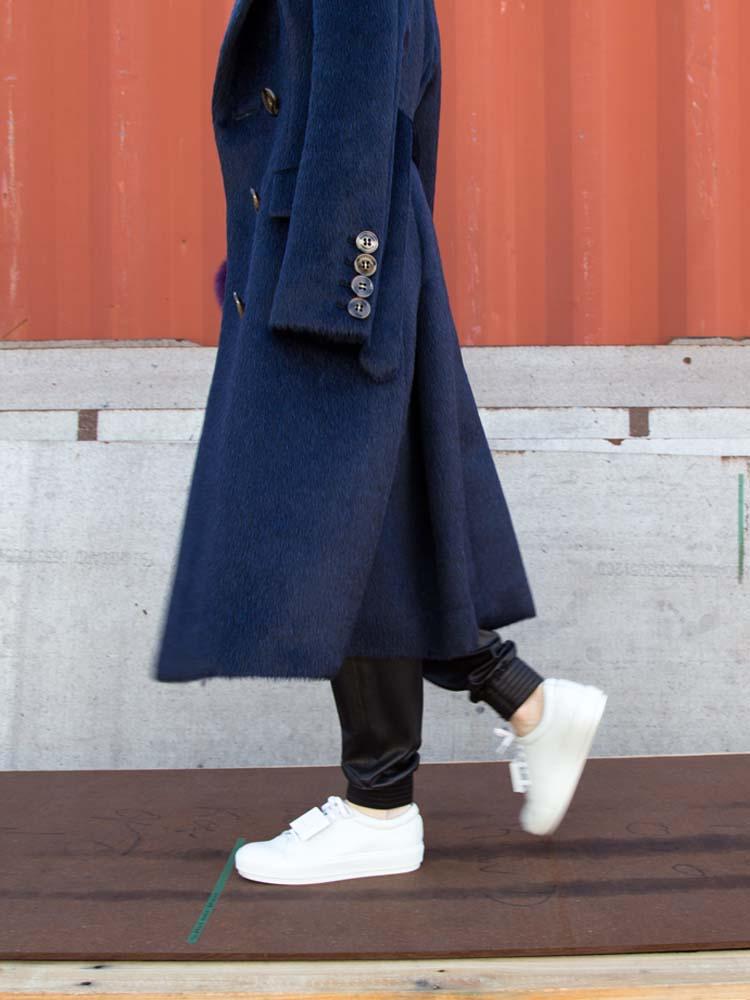 Burberry Classic Blue Coat, VINCE Leather Track Pants,ACNE STUDIOS Sneakers, Fur Bag Charm