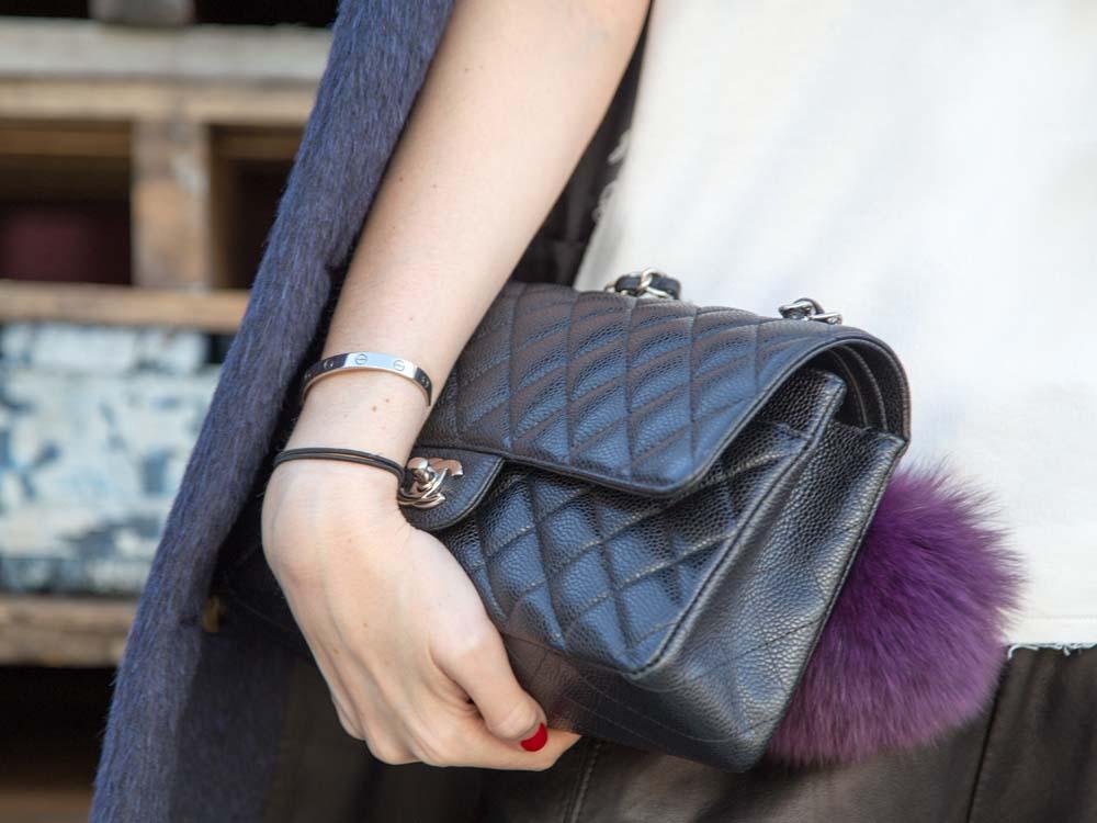 DETAILS:Burberry Classic Blue Coat, Fur Bag Charm, Chanel Bag