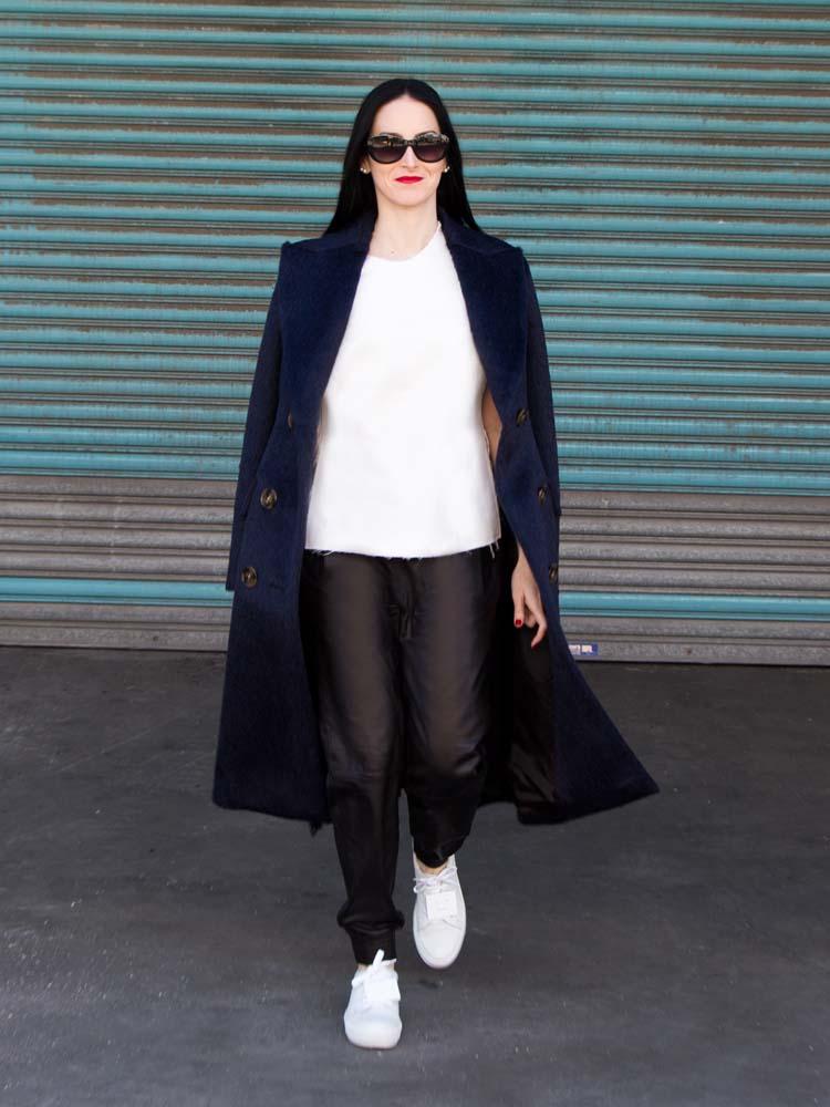 Burberry Classic Blue Coat, VINCE Leather Track Pants, ACNE STUDIOS Shoes