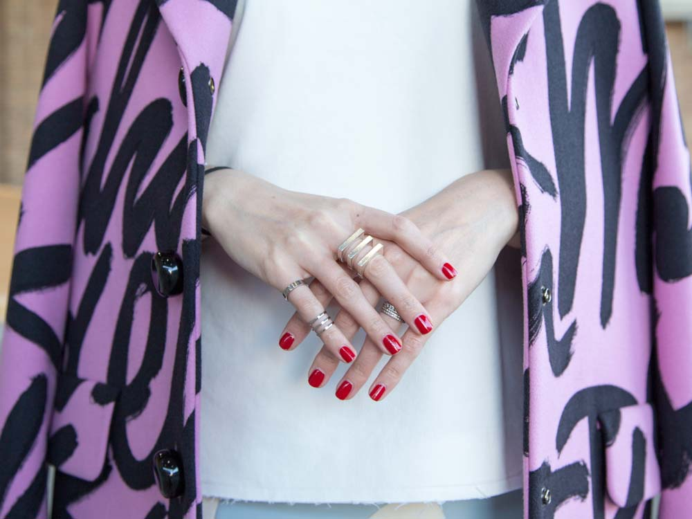 Moschino Cheap & Chic Graphic Coat, By Johnny Neoprene Skirt, Bassike Top