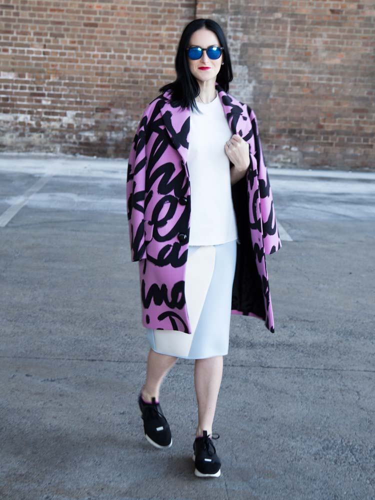 Balenciaga Sneakers, Moschino Cheap & Chic Graphic Coat, By Johnny Neoprene Skirt, Bassike Top