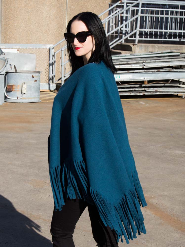 Burberry Poncho and Black Jeans, Karen Walker Sunglasses