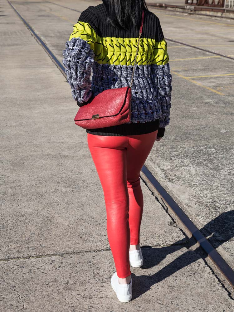 Alexander Wang Jumper, Burberry Bag, Balenciaga Leather Pants, Acne Studios Sneakers