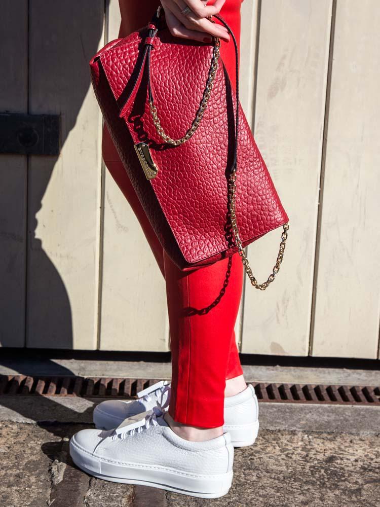 Burberry Bag, Balenciaga Leather Pants, Acne Studios Sneakers