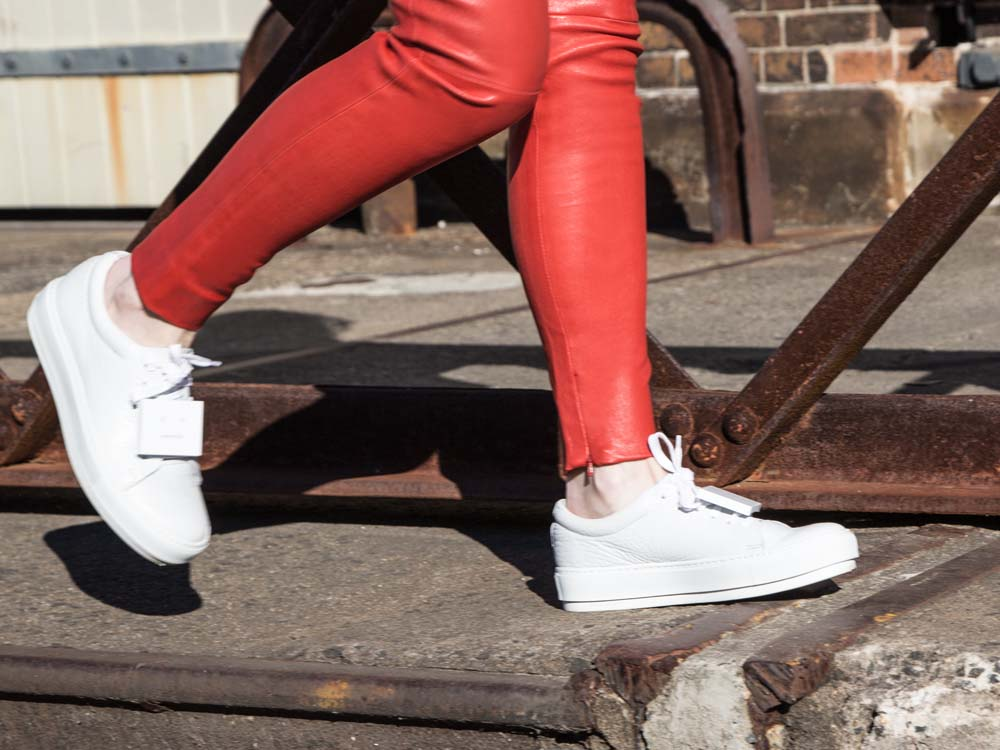 Balenciaga Leather Pants, Acne Studios Sneakers