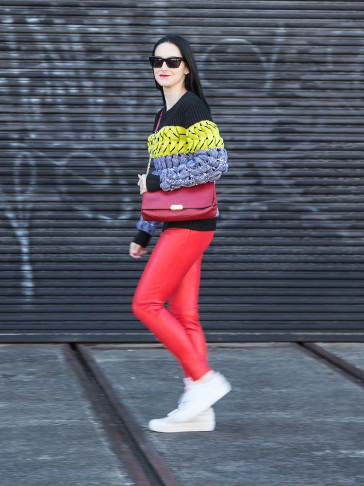 Alexander Wang Jumper, Burberry Bag, Balenciaga Leather Pants, Acne Studios Sneakers, Céline Sunglasses