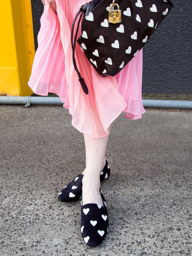 ASOS Australia Pastel Pleated Skirt,Burberry Prorsum Heart Print Shoes and Clutch