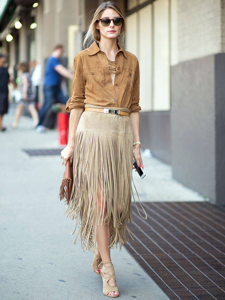 Fringe Skirt Street Style, photo from thefashiontag.com