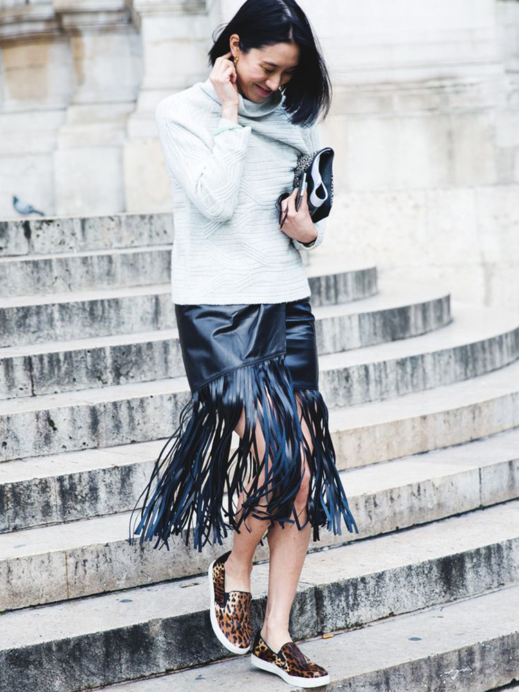 Fringe Skirt Street Style, photo from collagevintage.com
