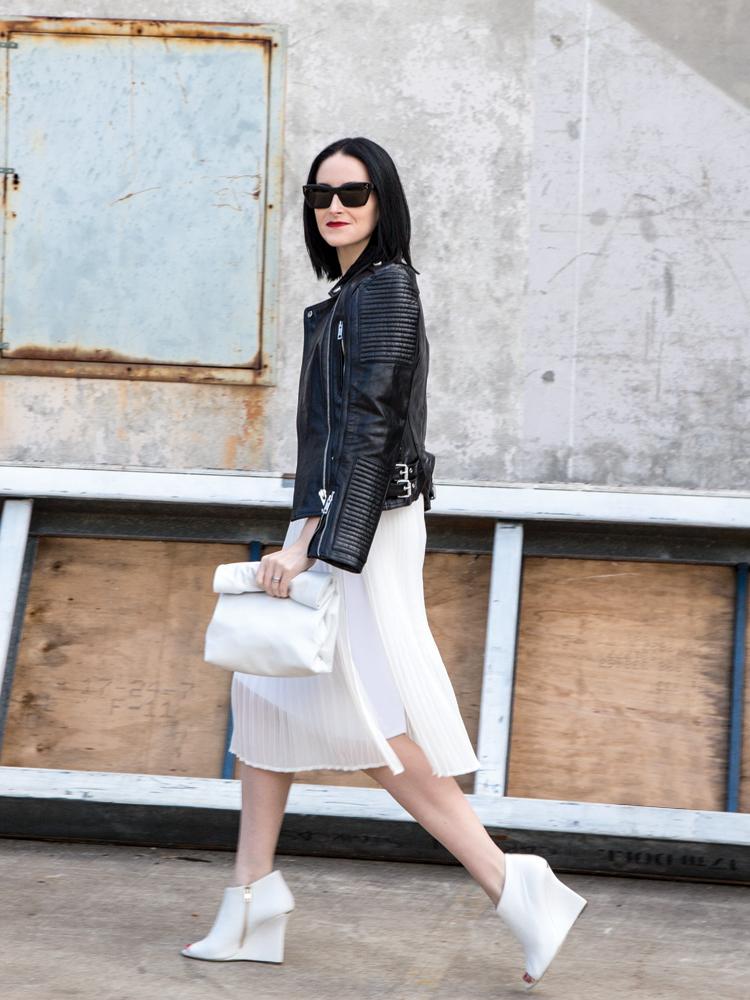 Tana & Hide White Lunchy Clutch, Dion Lee Dress, Céline Sunglasses, Burberry Booties & Jacket