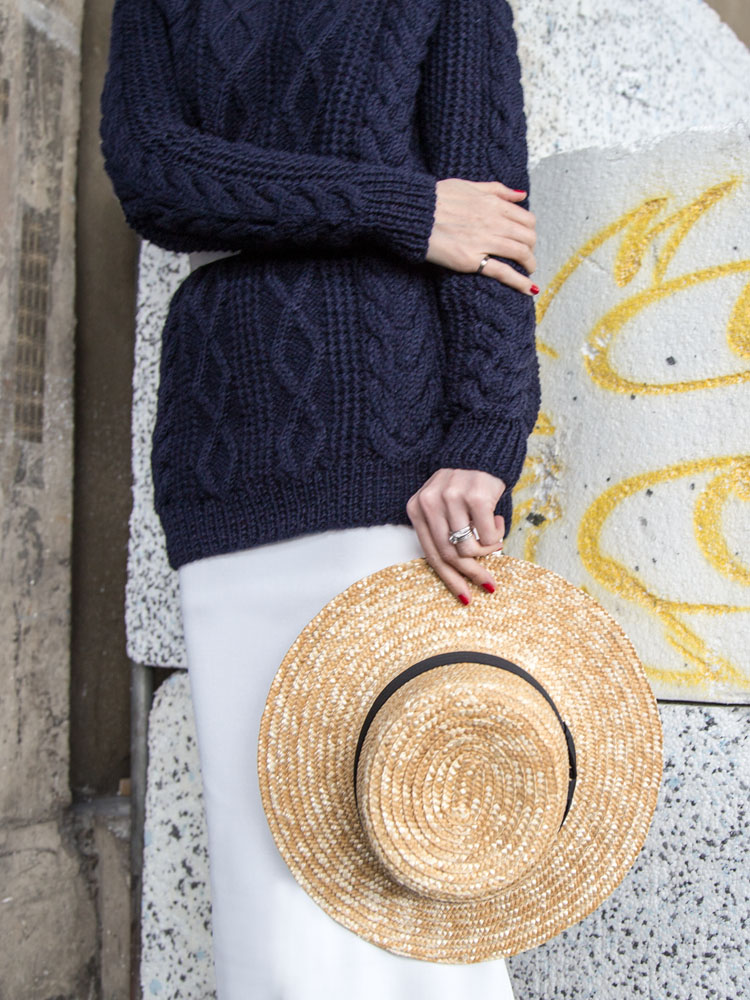 Lack of Color Hat,Danielle Chiel Classic Crew Sweater, Seed Heritage White Skirt, White Belt