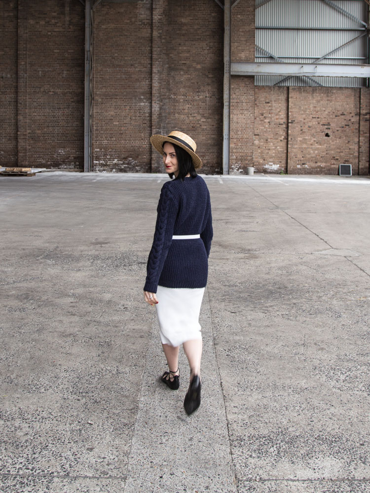 Lack of Color Hat,Danielle Chiel Classic Crew Sweater, Seed Heritage White Skirt, Topshop Shoes