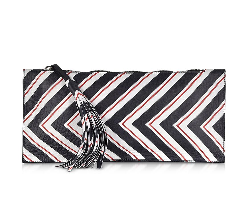 PINKO Stripe Leather Clutch, $132AUD