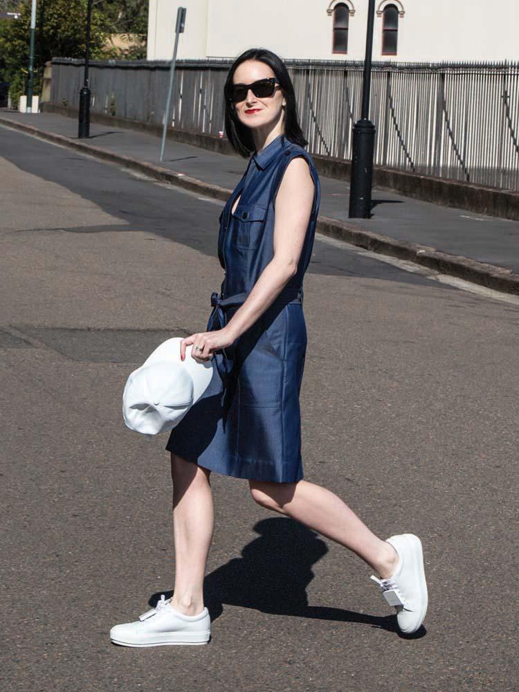 MARCS Dress, Available soon on marcs.com.au, White Hat, ACNE STUDIOS Shoes