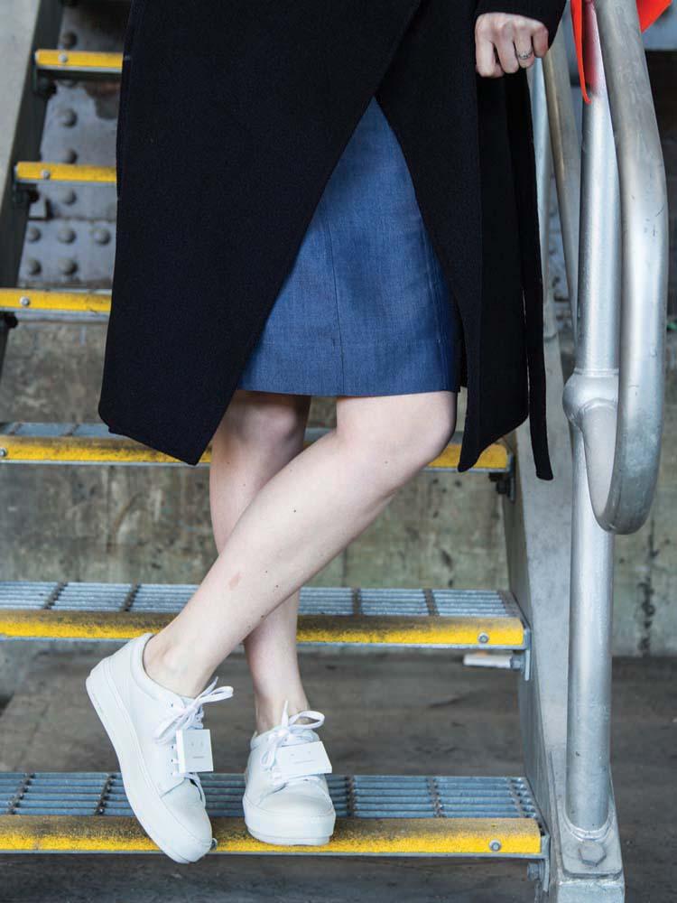 MARCS Dress,SABA Coat,White Hat, ACNE STUDIOS Shoes