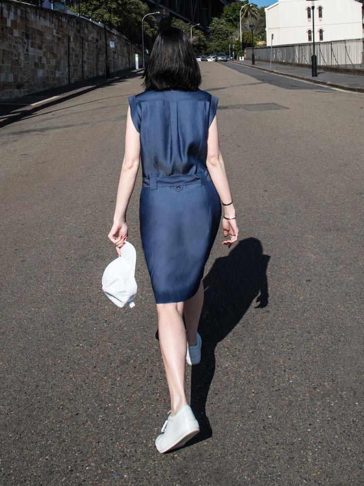 MARCS Dress,White Leather Hat, ACNE STUDIOS Shoes, Céline Sunglasses