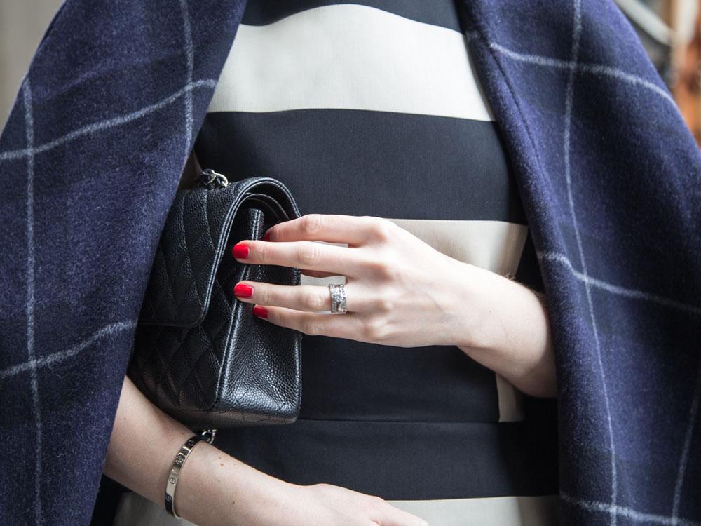 Blue Wool Coat, Lanvin Stripe Dress, Chanel Bag