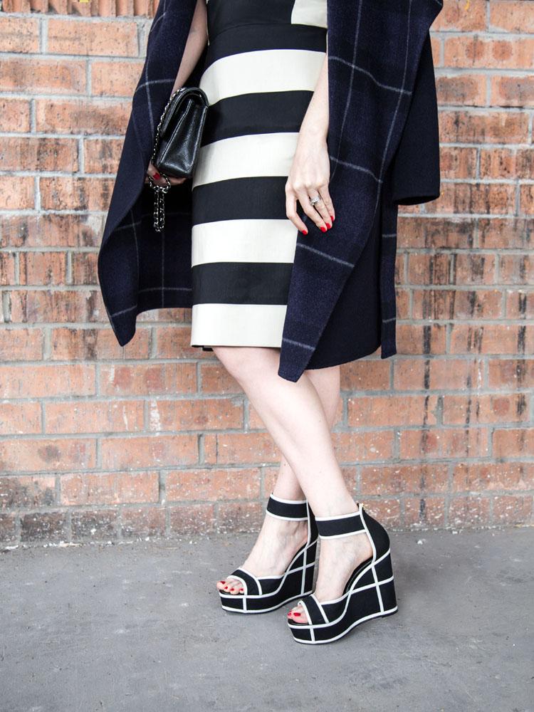 Blue Wool Coat, Lanvin Stripe Dress, Chanel Bag, Pierre Hardy Heels