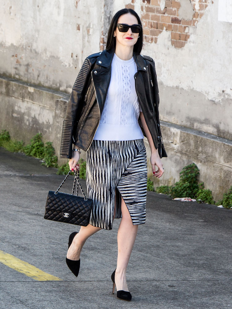 Céline Sunglasses, Burberry Leather Jacket, Scanlan Theodore Top & Skirt, Chanel Bag