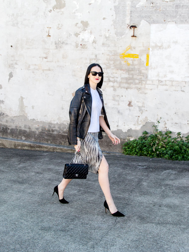 Céline Sunglasses, Scanlan Theodore Top & Skirt, Chanel Bag, Gianvito Rossi Heels