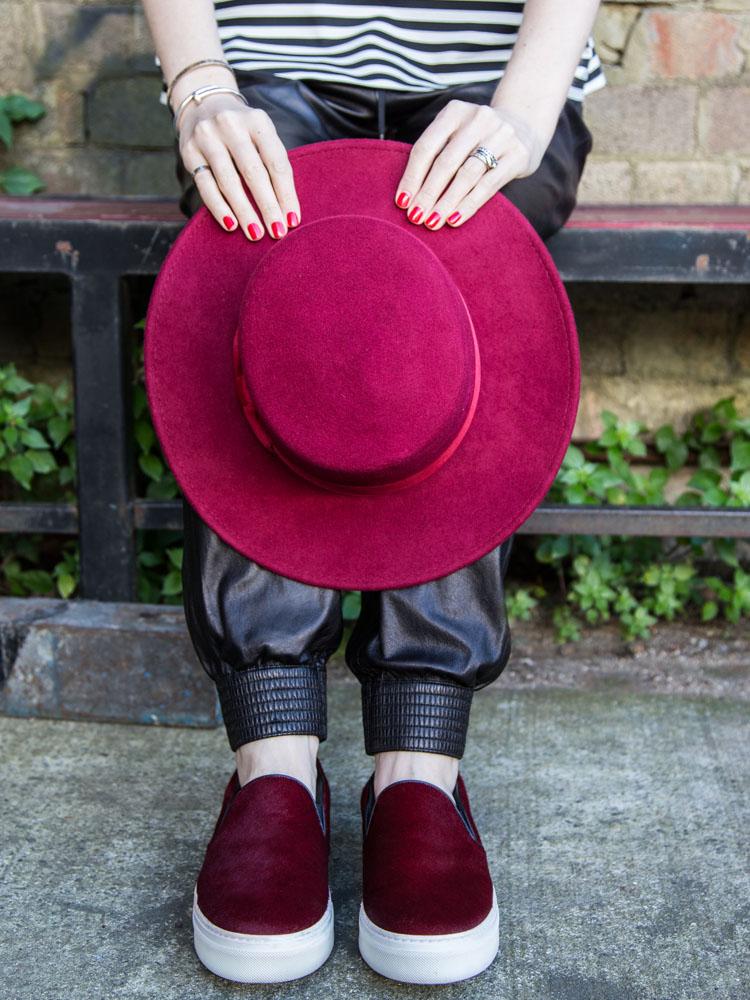 Lack of Color Hat, ZARA Top, VINCE Leather Pants, Céline Shoes