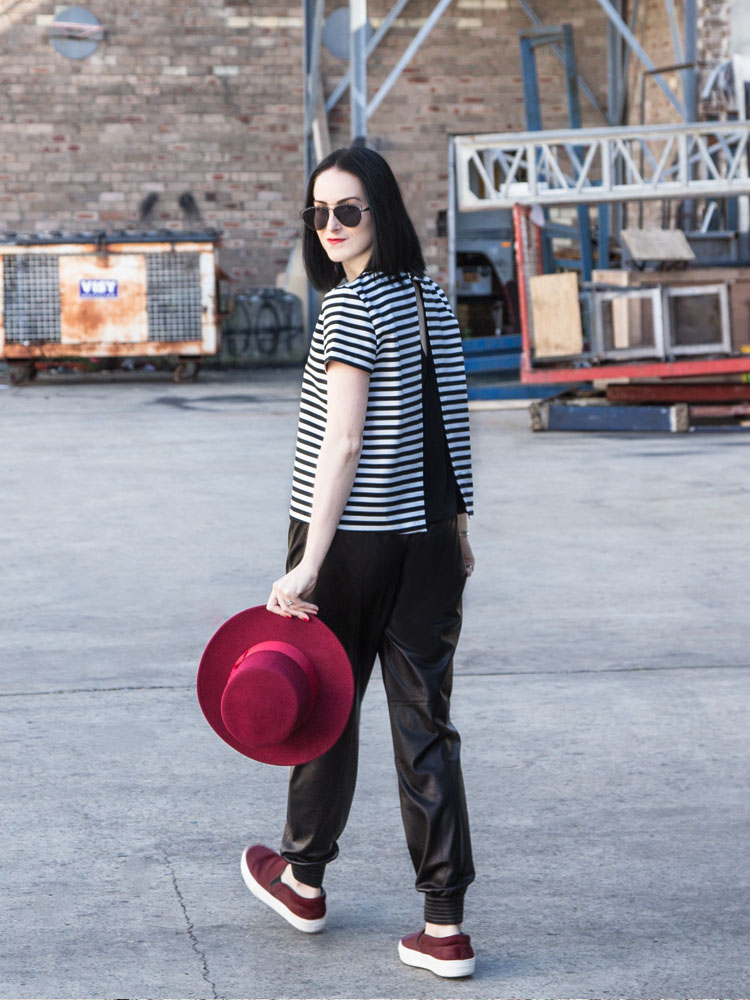 Lack of Color Hat, ZARA Top, Dior Sunglasses, VINCE Leather Pants, Céline Shoes