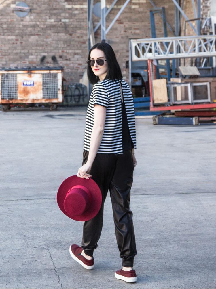 Lack of Color Hat, ZARA Top, Dior Sunglasses, VINCE Leather Pants, Céline Shoes